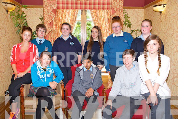 The Annual Kerry Comhairle na nOg at the Meadowlands Hotel on Friday. Pictured Shauna Dennehy (IT Tralee), Chloe Doona (Killorglin Community College) SHAZ ALI (CBS The Green, Tralee), Eoin Daly (St. Brendans, Killarney), Natasha Vaireaux, Back l-r Eddie Kelly (St. Michaels College, Listowel), Siobhan Brosnan (Presentation Castleisland), Victoria Wielogorska (Presentation), Michaela Corcoran (Colaiste na Sceilge), Catherine O'Sullivan (St. Josephs Ballybunion)