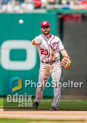 29 April 2017: Washington Nationals second baseman Daniel Murphy gets the second out of the 4th inning against the New York Mets at Nationals Park in Washington, DC. The Mets defeated the Nationals 5-3 to take the second game of their 3-game weekend series. Mandatory Credit: Ed Wolfstein Photo *** RAW (NEF) Image File Available ***