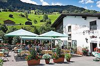 Austria, Vorarlberg, Montafon, Gaschurn: restaurant Old Montafon with sidewalk cafe | Oesterreich, Vorarlberg, Montafon, Gaschurn: Restaurant Alt Montafon mit Terrassencafe