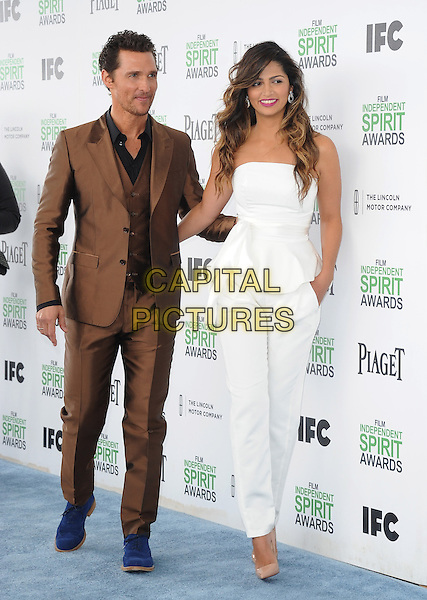 Matthew McConaughey and Camila Alves attends The 2014 Film Independent Spirit Awards held at Santa Monica Beach in Santa Monica, California on March 01,2014                                                                                <br /> CAP/DVS<br /> &copy;Debbie VanStory/Capital Pictures