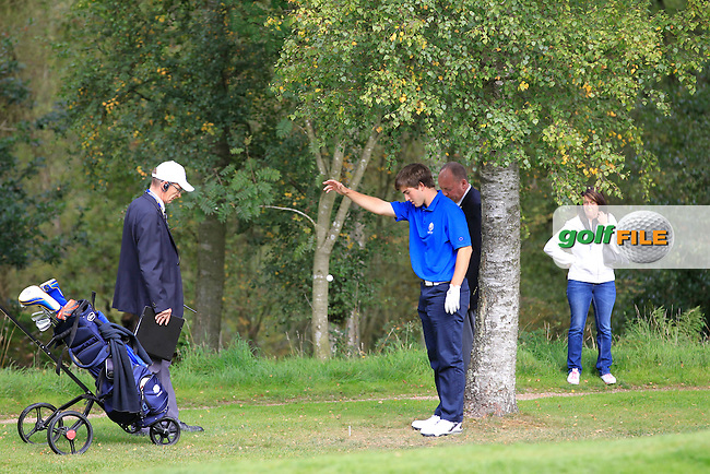Bradley Neil (SCO) with a bad lie on the 16th during Day 2 Singles for the Junior Ryder Cup 2014 at Blairgowrie Golf Club on Tuesday 23rd September 2014.<br /> Picture:  Thos Caffrey / www.golffile.ie