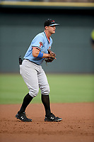 Third baseman Josh Jung (15) of the Hickory Crawdads plays defense in a game against the Columbia Fireflies on Tuesday, August 27, 2019, at Segra Park in Columbia, South Carolina. Columbia won, 3-2. (Tom Priddy/Four Seam Images)
