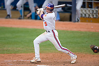 Mike Freeman #5 of the Clemson Tigers follows through on his swing versus the North Carolina Tar Heels at Durham Bulls Athletic Park May 23, 2009 in Durham, North Carolina. The Tigers defeated the Tar Heals 4-3 in 11 innings.  (Photo by Brian Westerholt / Four Seam Images)