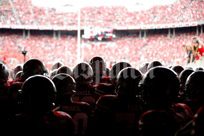 Ohio State Buckeyes wait in the the Hazelwood Family Tunnel before their game against Western Michigan Broncos at Ohio Stadium on September 26, 2015.  (Dispatch photo by Kyle Robertson)