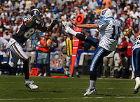 Sept. 17, 2006; San Diego, CA, USA; San Diego Chargers (83) Vincent Jackson attempts to block the punt of Tennessee Titans punter (15) Craig Hentrich at Qualcomm Stadium in San Diego, CA. Mandatory Credit: Mark J. Rebilas