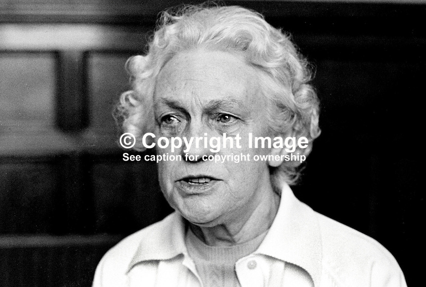 Betty Sinclair, Belfast, N Ireland, prominent member, Communist Party of Ireland. Trade unioninst. She was also prominent in the N Ireland Civil Rights Association, NICRA. 198705000125BS3.<br /> <br /> Copyright Image from Victor Patterson, 54 Dorchester Park, Belfast, UK, BT9 6RJ<br /> <br /> t: +44 28 90661296<br /> m: +44 7802 353836<br /> vm: +44 20 88167153<br /> e1: victorpatterson@me.com<br /> e2: victorpatterson@gmail.com<br /> <br /> For my Terms and Conditions of Use go to www.victorpatterson.com