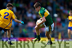 Donal O'Sullivan Kerry in action against Jack Sheedy Clare in the Munster Minor Football Final at Fitzgerald Stadium on Sunday.