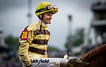 LOUISVILLE, KENTUCKY - MAY 04:  Jockey Flavien Prat after he wins the Kentucky Derby at Churchill Downs in Louisville, Kentucky on May 04, 2019. Evers/Eclipse Sportswire/CSM