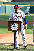 Buffalo Bisons shortstop Jonathan Diaz (1) addresses the crowd after receiving an honor before a game against the Pawtucket Red Sox on August 26, 2014 at Coca-Cola Field in Buffalo, New  York.  Pawtucket defeated Buffalo 9-3.  (Mike Janes/Four Seam Images)