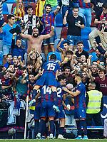 2nd November 2019; Estadi Ciutat de Valencia, Valencia, Spain; La Liga Football, Levante versus FC Barcelona; Borja Mayoral of Levante UD celebrates with his team mates after scoring the second goal for his team 2-1 in minute 62' - Editorial Use