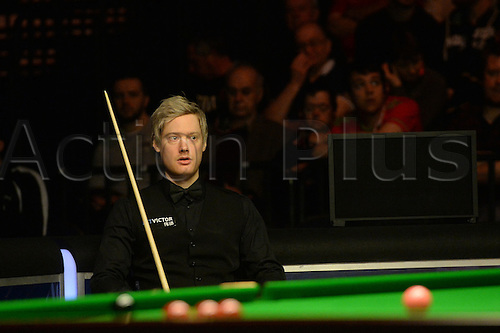 19.02.2016. Cardiff Arena, Cardiff, Wales. Bet Victor Welsh Open Snooker. Neil Robertson versus Ding Junhui. Neil Robertson at his seat as Ding is at the table