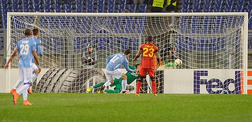 25.02.2016. Stadio Olimpico, Rome, Italy. Uefa Europa League, Return leg of SS Lazio versus Galatasaray. The goal of Miroslav Klose of Lazio