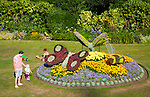 Floral display of butterflies in Parade Gardens public park in city centre of Bath, Somerset, England