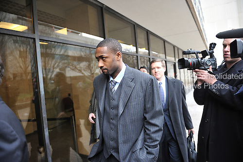 Washington Wizards guard Gilbert Arenas arrives at the H. Carl Moultrie I Courthouse of the District of Columbia in Washington, D.C. on Friday, January 15, 2010.  He is set to plead guilty on one count of felony handgun possession..Credit: Ron Sachs / CNP.(RESTRICTION: NO New York or New Jersey Newspapers or newspapers within a 75 mile radius of New York City)