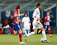 Calcio, finale di Champions League: Real Madrid vs Atletico Madrid. Stadio San Siro, Milano, 28 maggio 2016.<br /> Real Madrid&rsquo;s Gareth Bale, right, is chased by Atletico Madrid Filipe Luis during the Champions League final match between Real Madrid and Atletico Madrid, at Milan's San Siro stadium, 28 May 2016.<br /> UPDATE IMAGES PRESS/Isabella Bonotto
