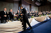 United States President Barack Obama shakes hands while departing the 36th annual National Italian American Foundation Gala, Saturday, October 29, 2011 in Washington, DC.  The President delivered the keynote address at the awards gala which is part of a two-day convention for the organization. .Credit: Brendan Smialowski / Pool via CNP