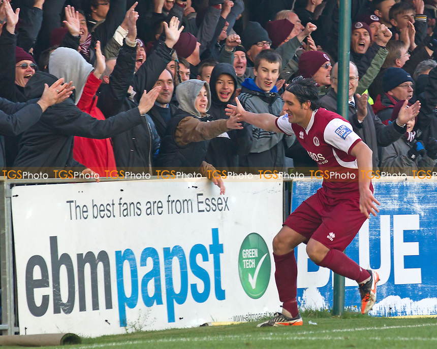 Jamie Slabber of Chelmsford City starts to celebrate with the fans following what he believes to be his second and the hosts fourth goal unaware that it has been ruled out for off side - Chelmsford City vs Staines Town - Blue Square Conference South Football at Melbourne Park, Chelmsford, Essex - 27/10/12 - MANDATORY CREDIT: Ray Lawrence/TGSPHOTO - Self billing applies where appropriate - 0845 094 6026 - contact@tgsphoto.co.uk - NO UNPAID USE.