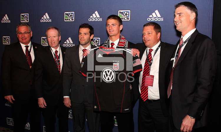 D.C. Union staff with Perry Kitchen at the 2011 MLS Superdraft, in Baltimore, Maryland on January 13, 2010.