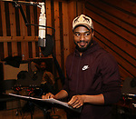 Grason Kingsberry from cast of the Broadway revival of 'Once on This Island' in the recording studio for the new Broadway cast recording with Broadway Records at Power Station on December 21, 2017 in New York City.