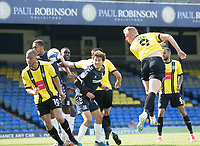 Mark Beck, Harrogate Town,  heads for goal during Southend United vs Harrogate Town, Sky Bet EFL League 2 Football at Roots Hall on 12th September 2020