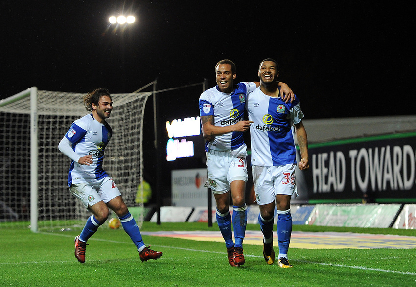 Blackburn Rovers' Joe Nuttall celebrates scoring his side's fourth goal with Elliott Bennett and Bradley Dack<br /> <br /> Photographer Ashley Western/CameraSport<br /> <br /> The EFL Sky Bet League One - Oxford United v Blackburn Rovers - Tuesday 21st November 2017 - Kassam Stadium - Oxford<br /> <br /> World Copyright &copy; 2017 CameraSport. All rights reserved. 43 Linden Ave. Countesthorpe. Leicester. England. LE8 5PG - Tel: +44 (0) 116 277 4147 - admin@camerasport.com - www.camerasport.com