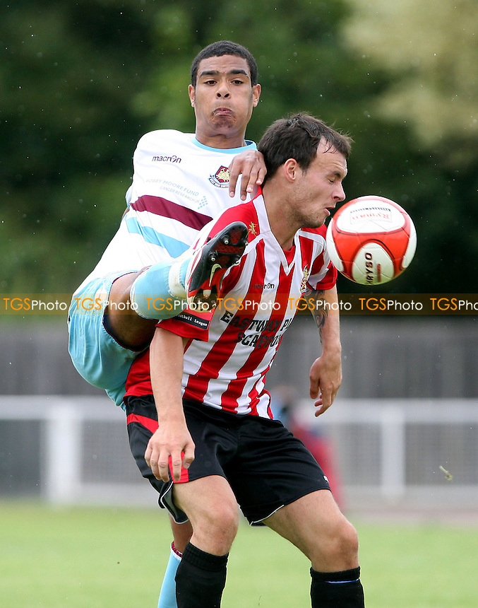 Martin Tuohy of Hornchurch and Paul McCallum of West Ham - AFC Hornchurch vs West Ham United XI, Pre-Season Friendly at Hornchurch Stadium, Hornchurch - 06/08/11 - MANDATORY CREDIT: Rob Newell/TGSPHOTO - Self billing applies where appropriate - 0845 094 6026 - contact@tgsphoto.co.uk - NO UNPAID USE.