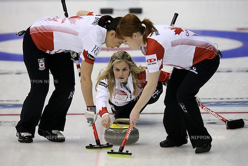 Jennifer Jones (CAN),<br /> MARCH 19, 2015 - Curling : World Women's Curling Championship 2015 Round Robin match between Japan and Canada at Tsukisamu Gymnasium in Sapporo, Hokkaido, Japan. (Photo by Jun Tsukida/AFLO SPORT)