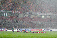 Munster squad members 'warming down' in hail shower after Munster v Ospreys game in Thomond Park 2nd Nov 2013