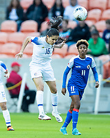 HOUSTON, TX - JANUARY 31: Katherine Alvarado #16 of Costa Rica heads the ball during a game between Haiti and Costa Rica at BBVA Stadium on January 31, 2020 in Houston, Texas.