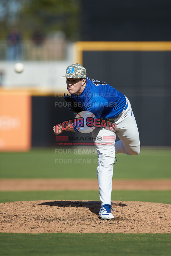 Duke Blue Devils relief pitcher Aaron Beasley (16) delivers a pitch to the plate against the Coastal Carolina Chanticleers at Segra Stadium on November 2, 2019 in Fayetteville, North Carolina. (Brian Westerholt/Four Seam Images)