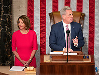 United States House Minority Leader Kevin McCarthy (Republican of California), right, makes remarks as Speaker of the United States House of Representatives Nancy Pelosi (Democrat of California), left, listens as the 116th Congress convenes for its opening session in theUS House Chamber of the US Capitol in Washington, DC on Thursday, January 3, 2019. Photo Credit: Ron Sachs/CNP/AdMedia