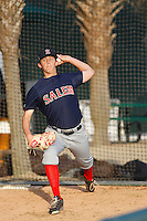 Salem Red Sox pitcher Matt Kent (11) warms up in the bullpen prior to the game against the Myrtle Beach Pelicans at Ticketreturn.com Field at Pelicans Ballpark on April 29, 2016 in Myrtle Beach, South Carolina. Salem defeated Myrtle Beach 4-3. (Robert Gurganus/Four Seam Images)