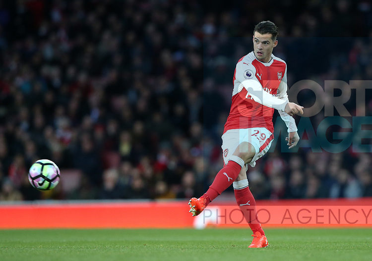 Arsenal's Granit Xhaka in action during the Premier League match at the Emirates Stadium, London. Picture date: April 26th, 2017. Pic credit should read: David Klein/Sportimage