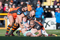 Picture by Allan McKenzie/SWpix.com - 11/02/2018 - Rugby League - Betfred Super League - Castleford Tigers v Widnes Vikings - the Mend A Hose Jungle, Castleford, England - Widnes's Oliver Ashall-Bott is tackled by Castleford's Alex Foster, Paul McShane & Oliver Holmes.