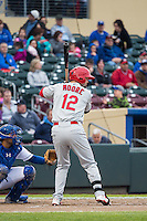 Scott Moore (12) of the Memphis Redbirds at bat against the Omaha Storm Chasers in Pacific Coast League action at Werner Park on April 24, 2015 in Papillion, Nebraska.  (Stephen Smith/Four Seam Images)