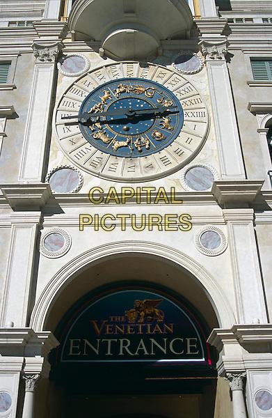Clock above entrance to the Venetian Hotel and Casino, Las Vegas, Nevada, USA