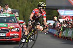 Race leader Red Jersey Simon Yates (GBR) Mitchelton-Scott approaches the finish line on the final climb of Stage 19 of the La Vuelta 2018, running 154.4km from Lleida to Andorra, Naturlandia, Andorra. 14th September 2018.                   <br /> Picture: Colin Flockton | Cyclefile<br /> <br /> <br /> All photos usage must carry mandatory copyright credit (© Cyclefile | Colin Flockton)