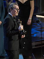 Gary Oldman accepts the Oscar&reg; for performance by an actor in a leading role for work on &ldquo;Darkest Hour&rdquo; during the live ABC Telecast of the 90th Oscars&reg; at the Dolby&reg; Theatre in Hollywood, CA on Sunday, March 4, 2018.<br /> *Editorial Use Only*<br /> CAP/PLF/AMPAS<br /> Supplied by Capital Pictures