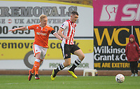 Blackpool's Mark Cullen vies for possession with Exeter City's Dara O'Shea<br /> <br /> Photographer Kevin Barnes/CameraSport<br /> <br /> Emirates FA Cup First Round - Exeter City v Blackpool - Saturday 10th November 2018 - St James Park - Exeter<br />  <br /> World Copyright &copy; 2018 CameraSport. All rights reserved. 43 Linden Ave. Countesthorpe. Leicester. England. LE8 5PG - Tel: +44 (0) 116 277 4147 - admin@camerasport.com - www.camerasport.com