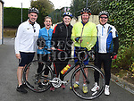 Stephen Nugent, Ciara Nugent, Sarah Dyas, Paddy Dyas and Paul Thornton at the annual kevin King Memorial cycle at the Thatch organised by Drogheda Wheelers cycling Club. Photo:Colin Bell/pressphotos.ie