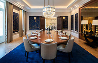 BNPS.co.uk (01202 558833)<br /> Pic: Savills/BNPS<br /> <br /> Dining room.<br /> <br /> Fairway to Heaven - Hills End has been described as 'a fabulous new masterpiece'. <br /> <br /> This breathtaking brand new mansion only a pitching wedge from one the most exclusive golf clubs in the country has emerged for sale for a whopping £22m.<br /> <br /> Hills End nestles within the prestigious Sunningdale estate in Surrey, home of the £4,000 a year Sunningdale Golf Club which dates back to 1900 and has hosted the Women's British Open and the Senior Open Championship.<br /> <br /> The newly-built property sits on a 1.75 acre plot  boasting six bedrooms, eight reception areas, a swimming pool complex with spa, sauna and yoga rooms along with a large cinema. and walk in wardrobes.<br /> <br /> The incredible Palladian style home is on the market with estate agents Savills who describe it as 'a fabulous new masterpiece'...that comes with a whopping £22 million price tag.