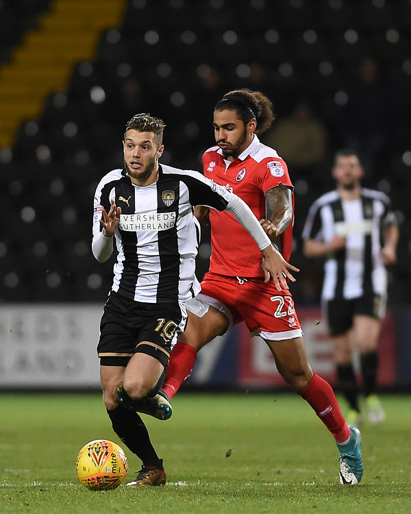 Notts County's Jorge Grant battles with Crawley Town&rsquo;s Josh Lelan<br /> <br /> Photographer Jon Hobley/CameraSport<br /> <br /> The EFL Sky Bet League Two - Notts County v Crawley Town - Tuesday 23rd January 2018 - Meadow Lane - Nottingham<br /> <br /> World Copyright &copy; 2018 CameraSport. All rights reserved. 43 Linden Ave. Countesthorpe. Leicester. England. LE8 5PG - Tel: +44 (0) 116 277 4147 - admin@camerasport.com - www.camerasport.com