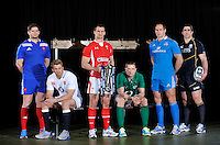 London, England. (L-R) Pascal Pape of France, Chris Robshaw of England, Sam Warburton of Wales, Jamie Heaslip of Ireland, Sergio Parisse of Italy and Kelly Brown of Scotland pose with the Six Nations trophy during the RBS Six Nations launch at The Hurlingham Club on January 23, 2013 in London, England.