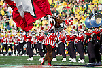 Wisconsin Badgers mascot Bucky Badger runs onto the field prior to the 2012 Rose Bowl NCAA football game against the Oregon Ducks in Pasadena, California on January 2, 2012. The Ducks won 45-38. (Photo by David Stluka)