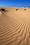 Sand patterns on sand dunes, late afternoon, Corralejo, Fuerteventura, Canary Islands, Spain.