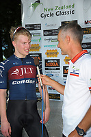 Del Woodford interviews stage winner Mathew Gibson (JLT Condor). Stage Three of the 2018 NZ Cycle Classic UCI Oceania Tour (Masterton to Martinborough) in Wairarapa, New Zealand on Friday, 19 January 2018. Photo: Dave Lintott / lintottphoto.co.nz