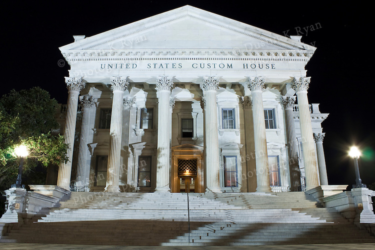 Charleston United States Custom House South Carolina at night