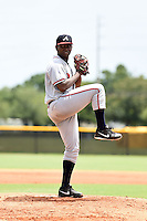 GCL Braves pitcher Felix Falcon (45) delivers a pitch during a game against the GCL Yankees 2 on June 23, 2014 at the Yankees Minor League Complex in Tampa, Florida.  GCL Yankees 2 defeated the GCL Braves 12-4.  (Mike Janes/Four Seam Images)
