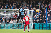 Anthony Stewart of Wycombe Wanderers wins the ball in the air during the Sky Bet League 2 match between Wycombe Wanderers and Leyton Orient at Adams Park, High Wycombe, England on 23 January 2016. Photo by Andy Rowland / PRiME Media Images.