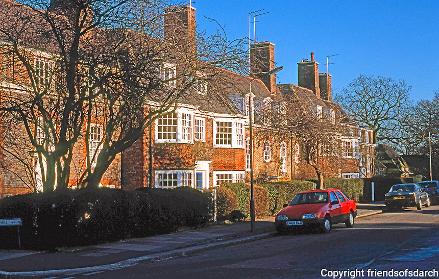 """London: Hampstead Garden Suburb, Central Square--North side. Sir Edwin Lutyens, 1909-14; """"Probably the most recent example of successful town planning in London""""...Guide, 342. Photo'90."""